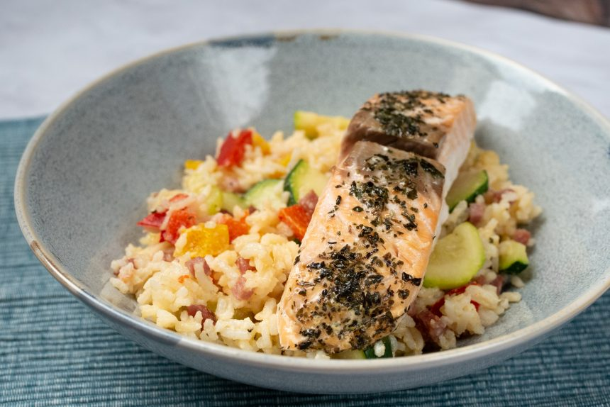 ryz z warzywami i boczkiem