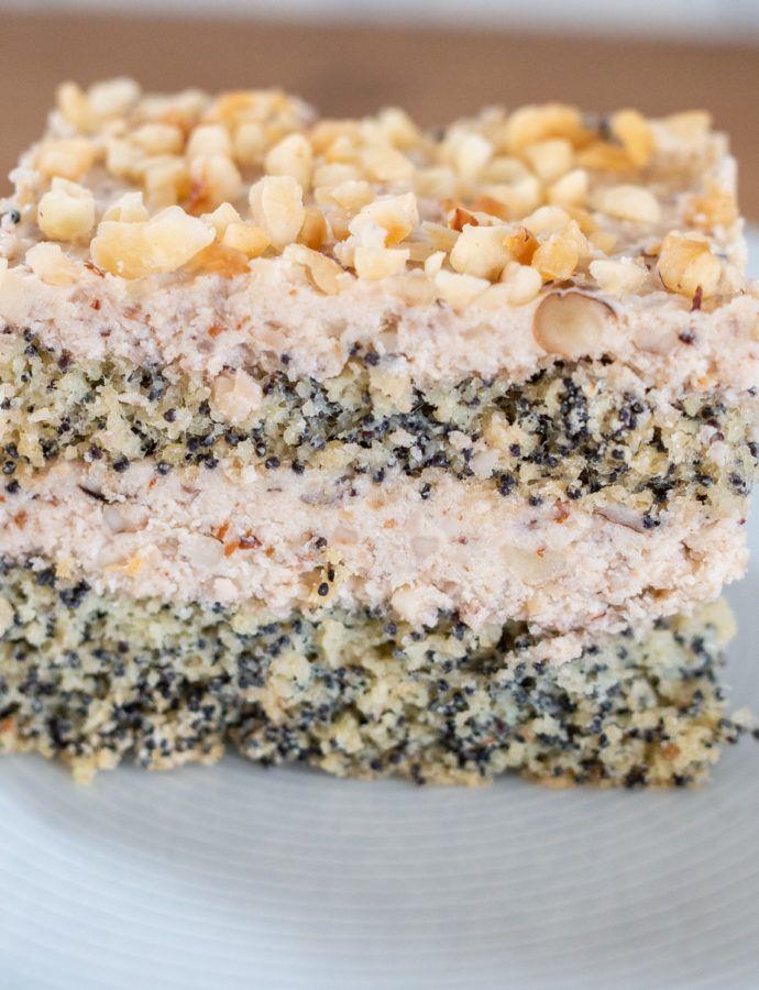 Makowo orzechowe ciasto z niskim IG