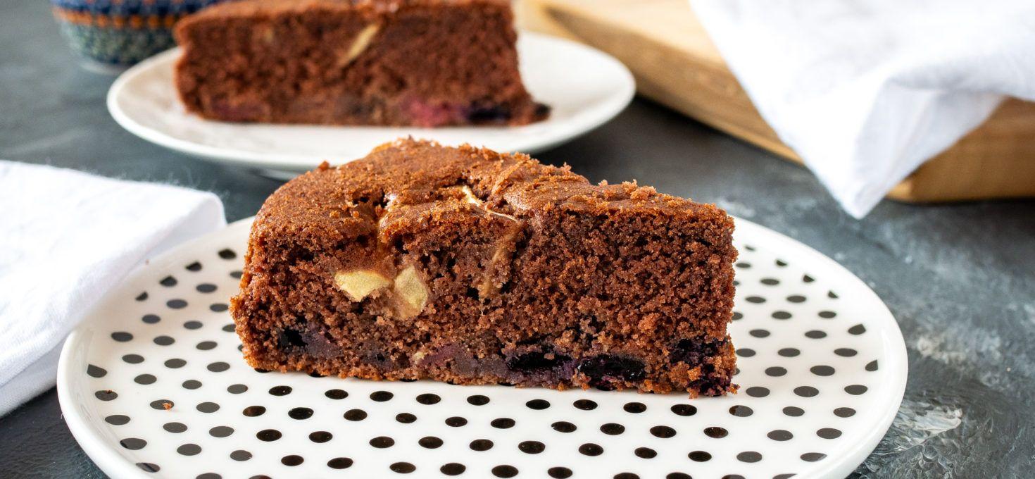 Kakaowe ciasto z owocami bez glutenu
